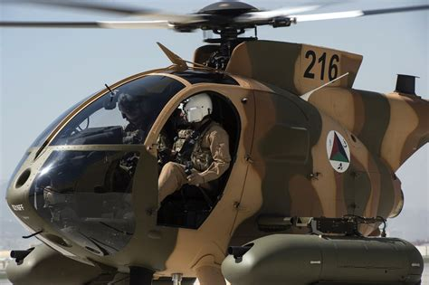 An Afghan air force MD-530F Cayuse Warrior helicopter